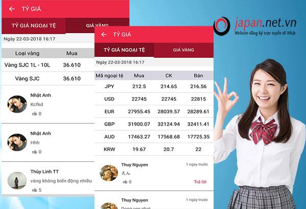 JPNET- app tự động cập nhật giá vàng, tỷ giá yên Nhật trên smartphone