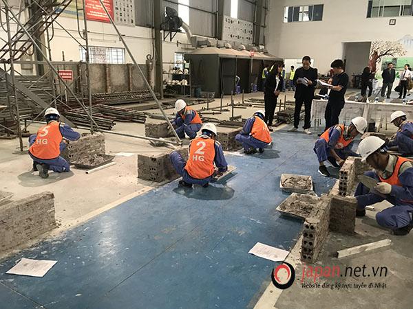 Thi tuyển đơn hàng xây trát đi xuất khẩu lao động Nhật Bản tại trung tâm 3 TTC Việt Nam