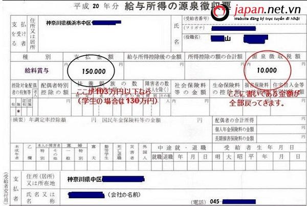 Làm sao để lấy lại tiền thuế thu nhập khi làm Baito Nhật bản ?