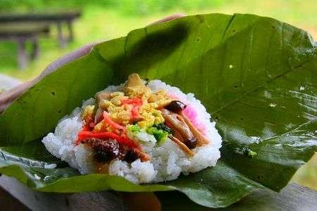 Nguyên liệu tự nhiên dùng để gói thức ăn ở Nhật Bản