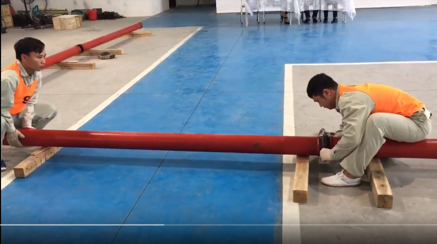 Thực tập sinh TTC Việt Nam tham gia thi tuyển đơn hàng lắp đặt đường ống