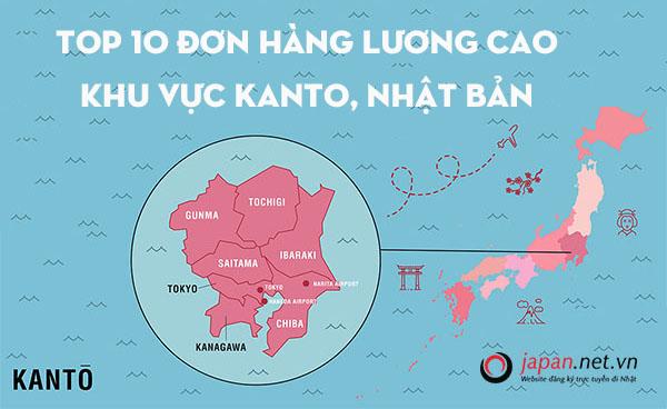Top 10 đơn hàng LƯƠNG CAO khu vực Kanto, Nhật Bản năm 2019