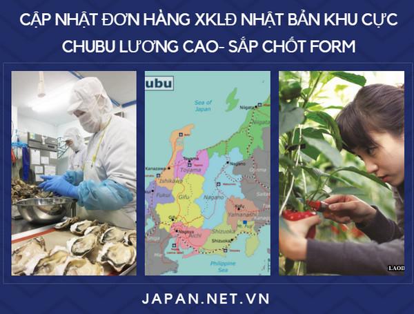 Cập nhật đơn hàng XKLĐ Nhật Bản khu vực Chubu lương cao- sắp chốt form