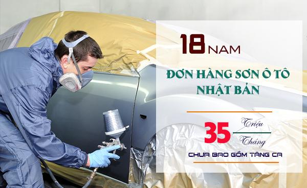 Đơn hàng sơn ô tô Nhật Bản cần tuyển 15 nam làm việc tại Kanagawa, lương > 35 triệu