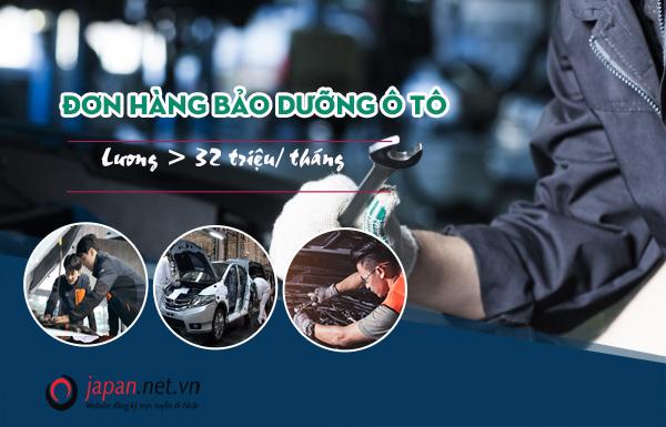 ĐƠN VIP: Tuyển 30 Nam đơn hàng bảo dưỡng ô tô tại Ibaraki - Lương> 32 triệu/tháng
