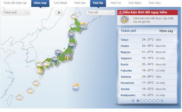 Tin tức Dự báo thời tiết Nhật Bản cập nhật liên tục 24h