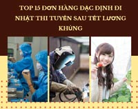 Top 15 đơn hàng đặc định đi Nhật thi tuyển sau tết LƯƠNG KHỦNG