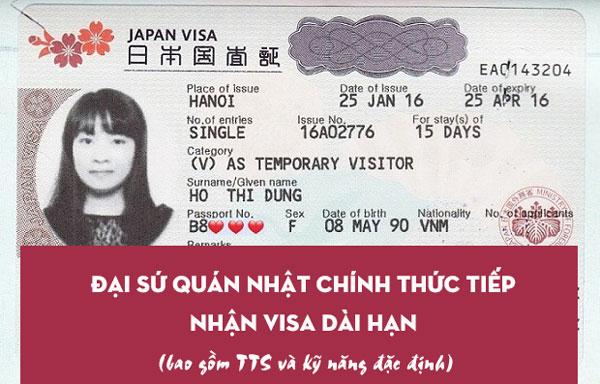 Đại sứ quán Nhật CHÍNH THỨC TIẾP NHẬN visa dài hạn (bao gồm TTS và kỹ năng đặc định)