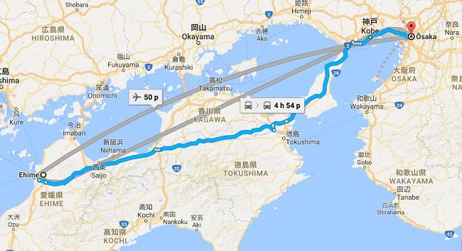 Nếu bạn đang ở Osaka - cách Ehime 326 km?