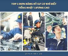TOP 5 đơn hàng kỹ sư cơ khí biết tiếng nhật LƯƠNG CAO